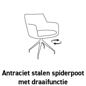 Antraciet stalen spiderpootmet draaifunctie