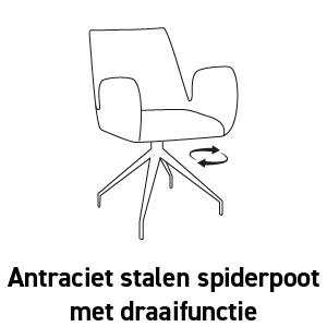 Antraciet stalen spiderpoot met draaifunctie